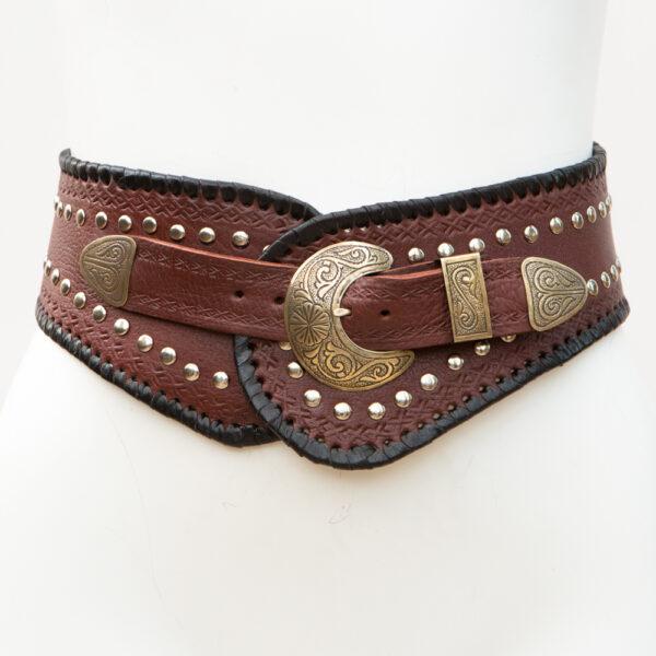 LB-365TT_belt_Handmade_leather_women's belt_wester_tribal_southwest_hip belt_wide belt_three piece buckle set