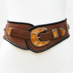 LB-383TT_belt_Handmade_leather_women's belt_wester_tribal_southwest_hip belt_wide belt_cowbone_three piece buckle set