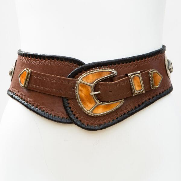 LB-383TT_belt_Handmade_leather_women's belt_wester_tribal_southwest_hip belt_wide belt_cowbone_three piece buckle set