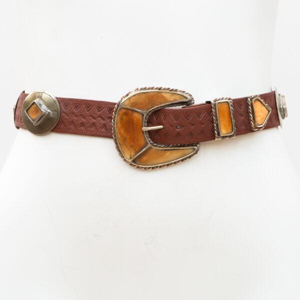 LB-385BN_belt_Handmade_leather_women's belt_wester_tribal_southwest_cowhorn_concho belt_three piece buckle set