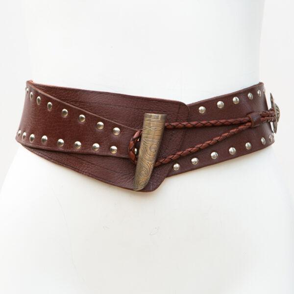 LB-396BN_belt_Handmade_leather_women's belt_wester_tribal_southwest_hip belt_wide belt _concho