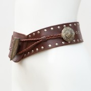 LB-396BN_belt_Handmade_leather_women's belt_wester_tribal_southwest_hip belt_wide belt_concho