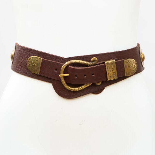 LB-399BN_belt_Handmade_leather_women's belt_wester_tribal_southwest_hip belt_wide belt_concho belt