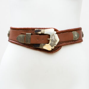 LB-400BN_belt_Handmade_leather_women's belt_wester_tribal_southwest_hip belt_wide belt_cowhorn_concho belt
