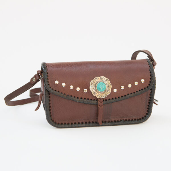 SK-082TT-T_handmade_leather_handbag_purse_western_tribal_southwestern_brown_small_concho_turquoise_crossbody_