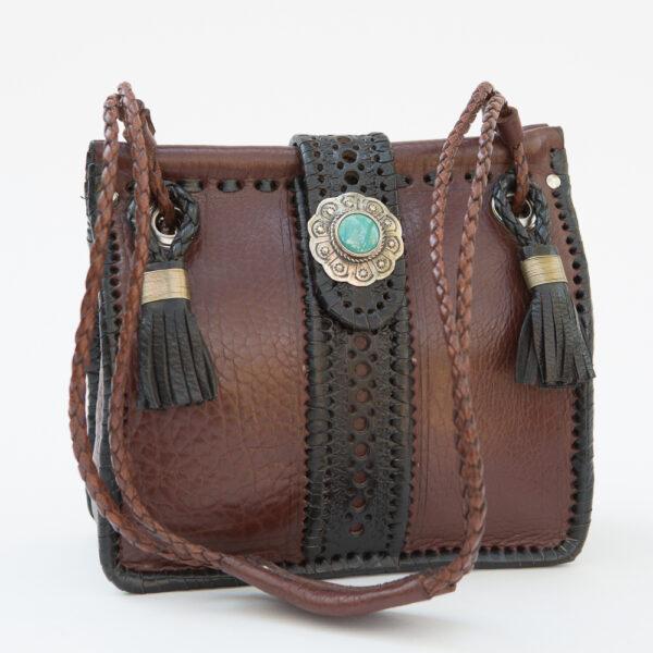 SK-127TT-T_handmade_leather_handbag_purse_western_tribal_southwestern_brown_medium_small_concho_turquoise_