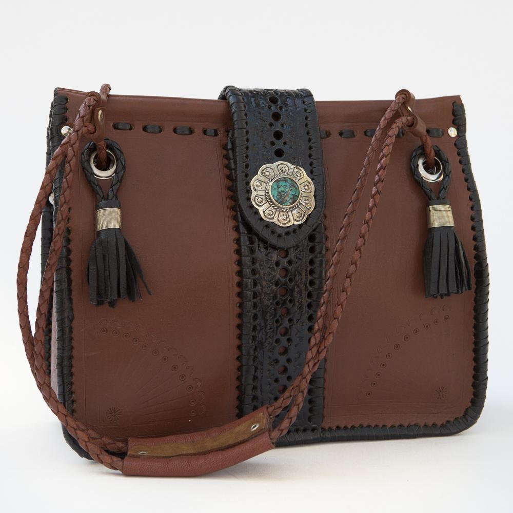 Western Handmade Tooled Medium Shoulder Bag