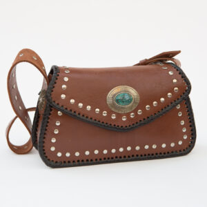 SK-174TT-T_handmade_leather_handbag_purse_western_tribal_southwestern_brown_concho_small_turquoise_