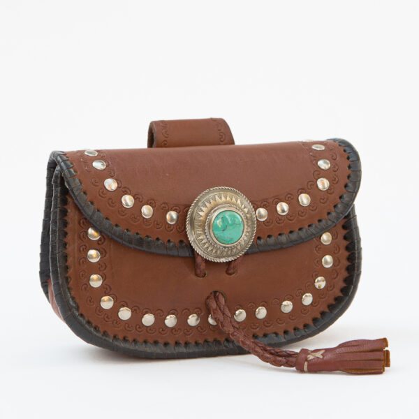 SK-208TT-T_handmade_leather_handbag_purse_western_tribal_southwestern_brown_small_beltbag_concho_turquoise_