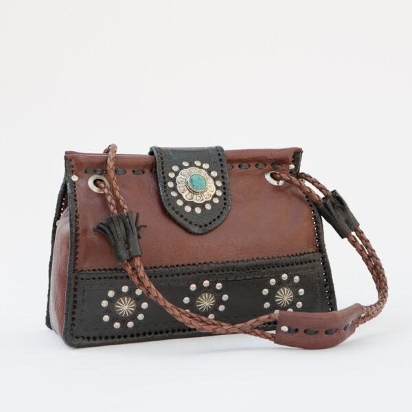 SK-211TT-T_handmade_leather_handbag_purse_western_tribal_southwestern_brown_medium_concho_turquoise_