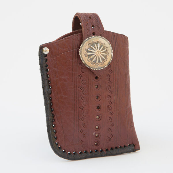 SK-238TT_handmade_leather_phonecase_western_tribal_southwestern_brown_concho_medium_