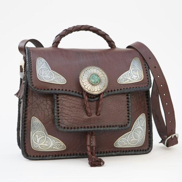 sk-125tt-t_handmade_leather_handbag_purse_western_tribal_southwestern_black_medium_concho_turquoise_